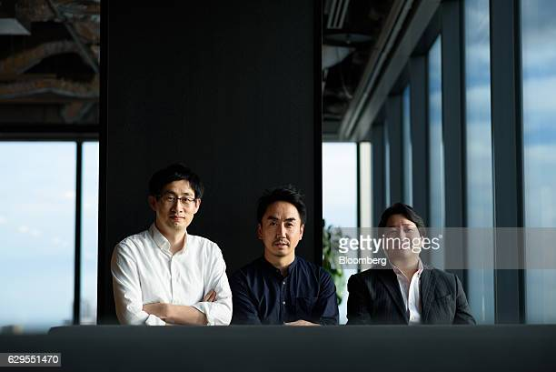 Takeshi Idezawa chief executive officer of Line Corp center Joongho Shin chief global officer of Line Corp left and Jun Masuda chief strategy and...