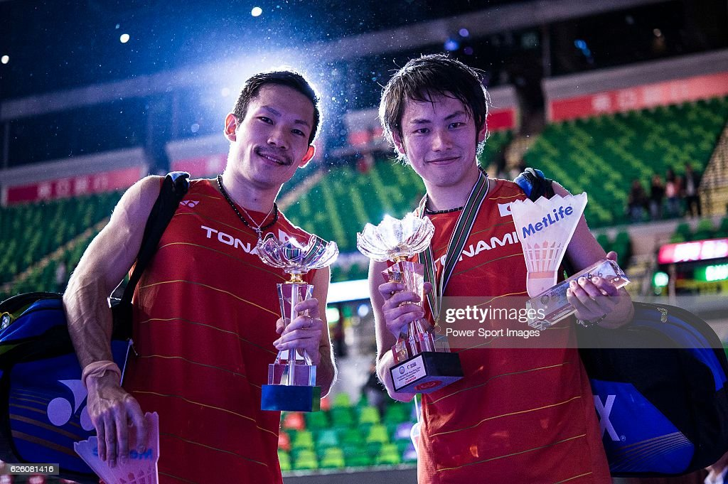 Takeshi Kamura and Keigo Sonoda of Japan celebrating after winning Mathias Boe and Carsten Mogensen of Denmark on their Men's Doubles Final of YONEX-SUNRISE Hong Kong Open Badminton Championships 2016 at the Hong Kong Coliseum on 27 November 2016 in Hong Kong, Hong Kong.