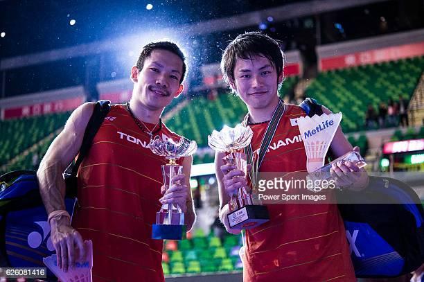 Takeshi Kamura and Keigo Sonoda of Japan celebrating after winning Mathias Boe and Carsten Mogensen of Denmark on their Men's Doubles Final of...
