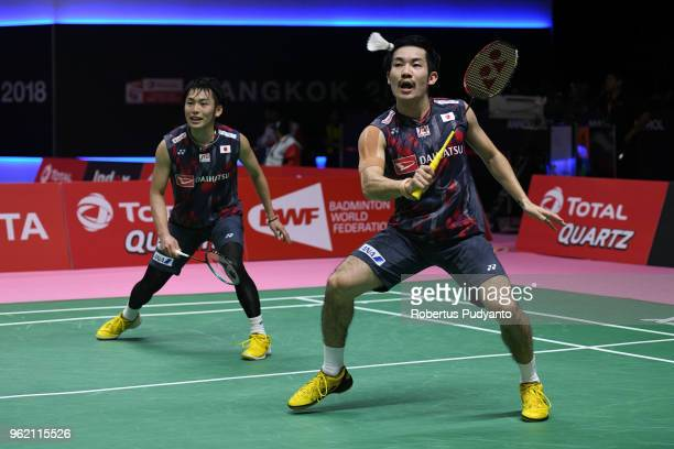 Takeshi Kamura and Keigo Sonoda of Japan compete against Bastian Kersaudy and Julien Maio of France during the Quarterfinals match on day five of the...