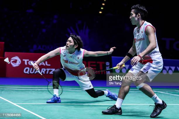 Takeshi Kamura and Keigo Sonoda of Japan compete in the Men's Doubles semi finals match against Mohammad Ahsan and Hendra Setiawan of Indonesia on...