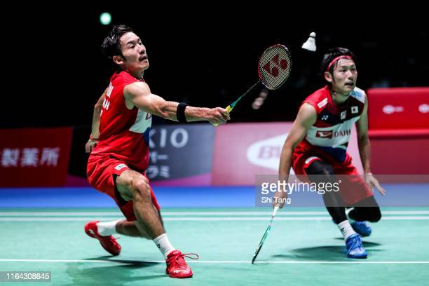 Takeshi Kamura and Keigo Sonoda of Japan compete in the Men's Doubles quarter finals match against Satwiksairaj Rankireddy and Chirag Shetty of India...