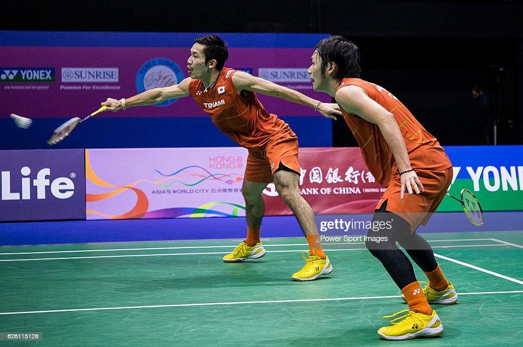 Takeshi Kamura and Keigo Sonoda of Japan competes against Mathias Boe and Carsten Mogensen of Denmark during their Men's Doubles Final of YONEX-SUNRISE Hong Kong Open Badminton Championships 2016 at the Hong Kong Coliseum on 27 November 2016 in Hong Kong, Hong Kong.