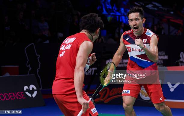 Takeshi KAMURA and Keigo SONODA of Japan in action during day two of the DANISA Denmark Open Badminton World Tour Super 750 Tournament at Odense...