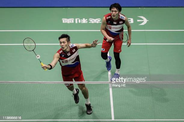 Takeshi Kamura and Keigo Sonoda of Japan in action during the men's doubles match against Chung Yonny and Tam Chun Hei of Hongkong at the 2019...