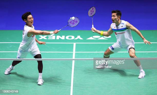 Takeshi Kamura and Keigo Sonoda of Japan in action during their Men's Double final against Yuta Watanabe and Hiroyuki Endo Japan during day five of...
