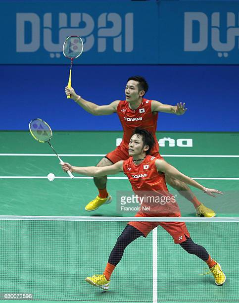 Takeshi Kamura and Keigo Sonoda of Japan in action in the Men's Doubles during day three of the BWF Dubai World Superseries Finals at the Hamdan...