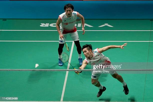 Takeshi Kamura and Keigo Sonoda of Japan in action in the men's doubles on day six of the Badminton Malaysia Open at Axiata Arena on April 07 2019 in...