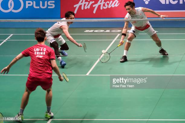 Takeshi Kamura and Keigo Sonoda of Japan in action on day six of the Badminton Malaysia Open at Axiata Arena on April 07 2019 in Kuala Lumpur Malaysia