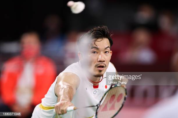 Takeshi Kamura and Keigo Sonoda of Team Japan compete against Mark Lamsfuss and Marvin Seidel of Team Germany during a Men's Doubles Group C match on...