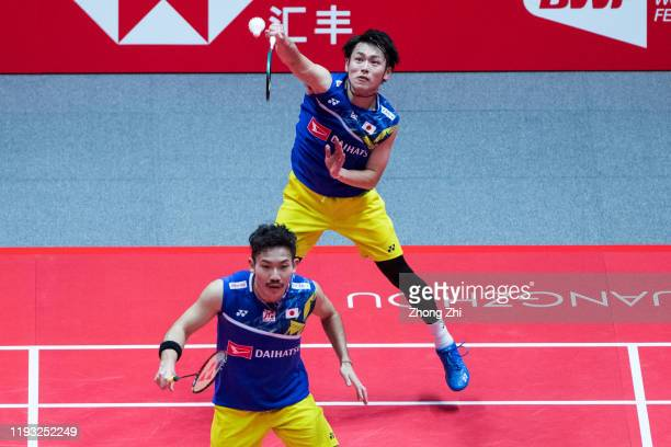 Takeshi Kamura of Japan in action with Keigo Sonoda of Japan during their match against Hiroyuki Endo and Yuta Watanabe of Japan on day 1 of the HSBC...