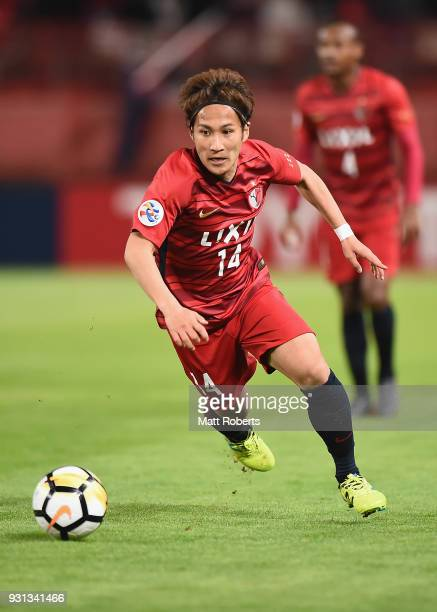 Takeshi Kanamori of Kashima Antlers competes for the ball during the AFC Champions League Group H match between Kashima Antlers and Sydney FC at...