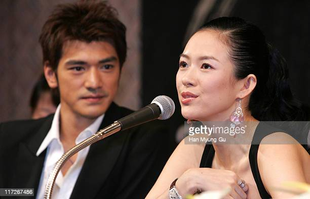 Takeshi Kaneshiro and Zhang Ziyi during Lovers Seoul Press Conference at Seoul Shilla Hotel in Seoul City Seoul South Korea