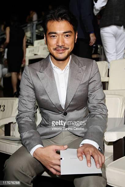 Takeshi Kaneshiro attends the Armani fashion show as part of Milan Fashion Week Menswear Spring/Summer 2012 on June 21 2011 in Milan Italyon June 21...