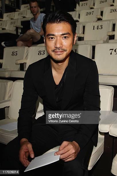 Takeshi Kaneshiro attends the Emporio Armani fashion show as part of Milan Fashion Week Menswear Spring/Summer 2012 on June 19 2011 in Milan Italy