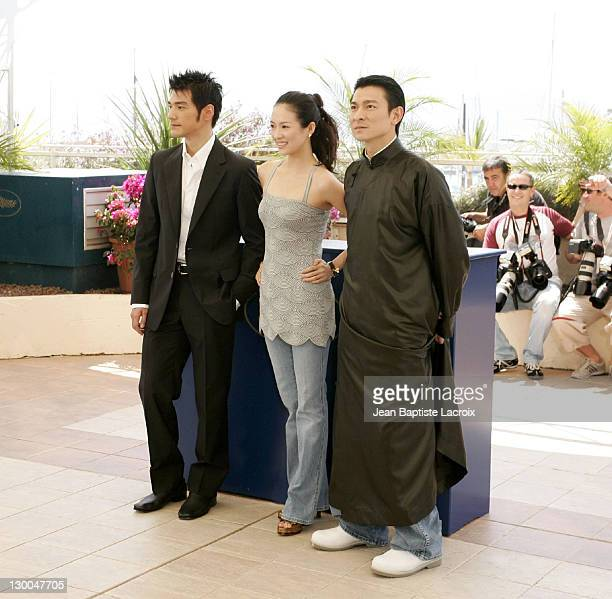 Takeshi Kaneshiro Zhang Ziyi and Andy Lau during 2004 Cannes Film Festival 'House Of Flying Daggers' Photocall at Palais du Festival in Cannes France