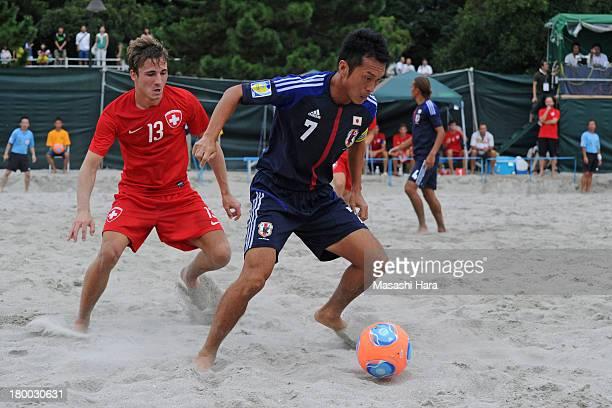 Takeshi Kawaharazuka of Japan in action during the beach soccer international friendly between Japan and Switzerland at Odaiba Kaihin Koen on...