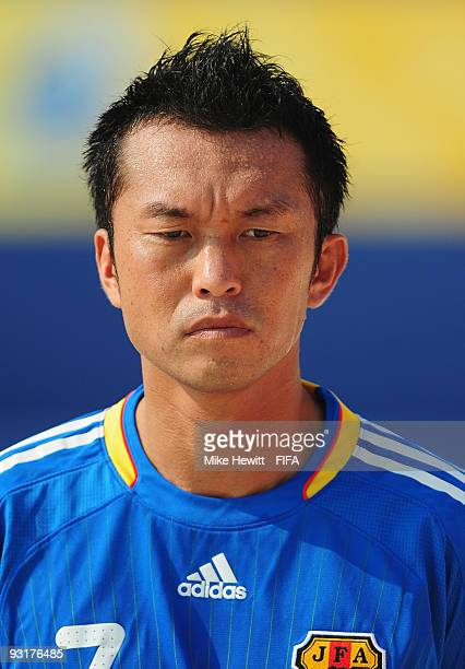 Takeshi Kawaharazuka of Japan lines up before the Group B FIFA Beach Soccer World Cup match between Japan and Ivory Coast at the Umm Suqeim beach on...