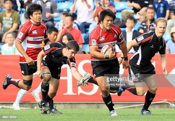 Takeshi Kizu of Japan in action during the HSBC Asian 5 Nations match between Japan and Arabian Gulf at Prince Chichibu Stadium on May 8 2010 in...