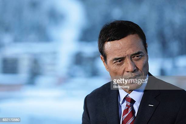 Takeshi Niinami president and chief executive officer of Suntory Holdings Ltd speaks during a Bloomberg Television interview at the World Economic...