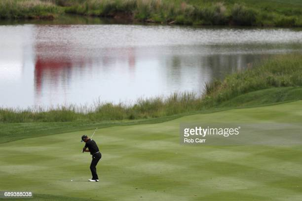 Takeshi Sakiyama hits to the first hole during the final round of the Senior PGA Championship at Trump National Golf Club on May 28 2017 in Sterling...