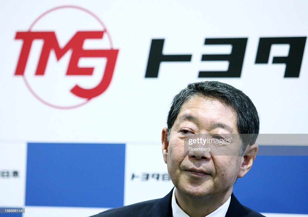 Takeshi Shirane, president of Toyota Motor East Japan Inc., attends the line-off ceremony at the company's Miyagi Taiwa Plant in Taiwa, Miyagi Prefecture, Japan, on Friday, Dec. 14, 2012. Toyota Motor East Japan Inc. commenced operations at the plant today. Photographer: Tomohiro Ohsumi/Bloomberg via Getty Images