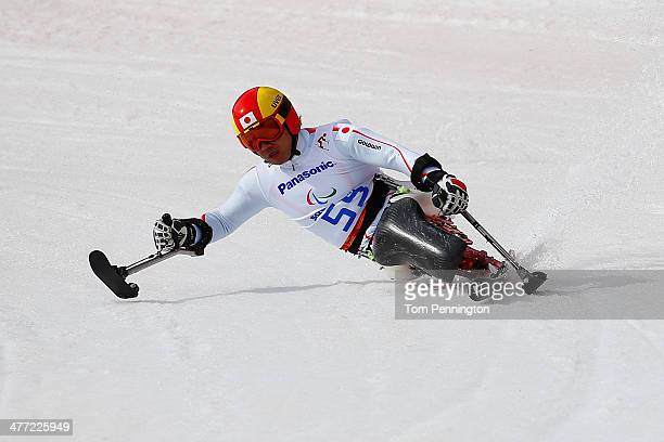 Takeshi Suzuki of Japan competes in Men's Downhill Sitting during day one of Sochi 2014 Paralympic Winter Games at Rosa Khutor Alpine Center on March...
