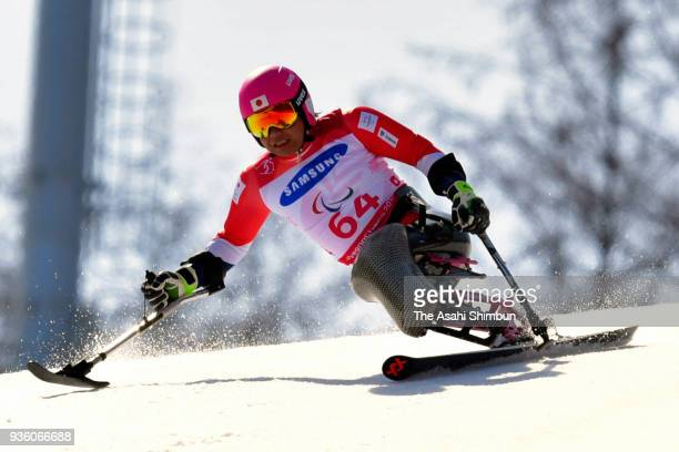 Takeshi Suzuki of Japan competes in the Alpine Skiing Men's Giant Slalom Sitting on day five of the PyeongChang 2018 Paralympic Games on March 14...