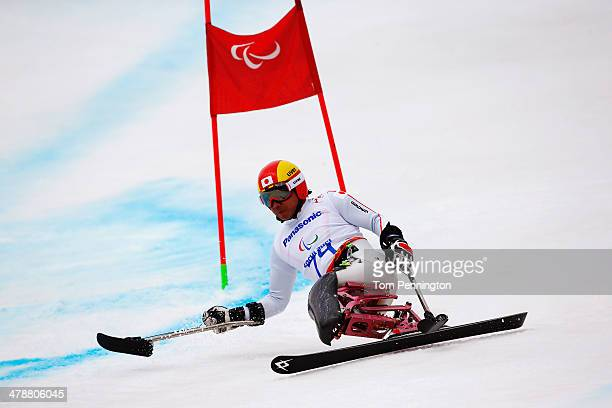 Takeshi Suzuki of Japan competes in the Men's Giant Slalom Sitting during day eight of the Sochi 2014 Paralympic Winter Games at Rosa Khutor Alpine...