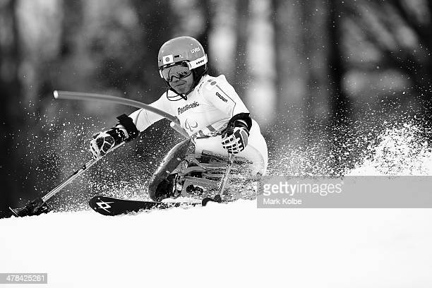 Takeshi Suzuki of Japan competes in the Men's Slalom 1st Run Standing during day six of Sochi 2014 Paralympic Winter Games at Rosa Khutor Alpine...