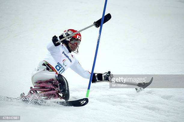 Takeshi Suzuki of Japan competes in the Men's Slalom 2nd Run Sitting during day six of Sochi 2014 Paralympic Winter Games at Rosa Khutor Alpine...