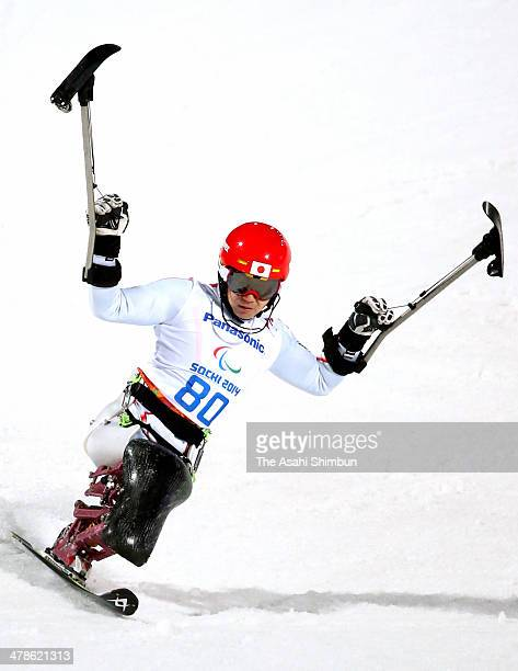 Takeshi Suzuki of Japan competes in the Men's Slalom Sitting 2nd Run during day six of Sochi 2014 Paralympic Winter Games at Rosa Khutor Alpine...