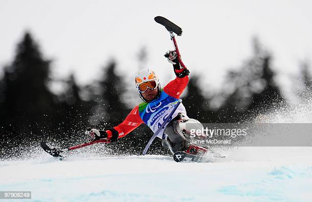 Takeshi Suzuki of Japan competes in the Men's Standing Slalom during Day 9 of the 2010 Vancouver Winter Paralympics at Whistler Creekside on March 20...