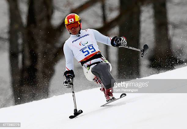 Takeshi Suzuki of Japan competes in the Men's Super G sitting during day two of Sochi 2014 Paralympic Winter Games at Rosa Khutor Alpine Center on...