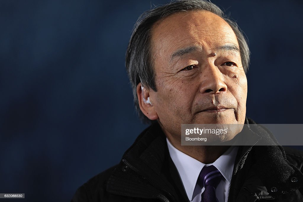 Takeshi Uchiyamada, chairman of Toyota Motor Corp., pauses during a Bloomberg Television interview at the World Economic Forum (WEF) in Davos, Switzerland, on Wednesday, Jan. 18, 2017. World leaders, influential executives, bankers and policy makers attend the 47th annual meeting of the World Economic Forum in Davos from Jan. 17 - 20. Photographer: Simon Dawson/Bloomberg via Getty Images