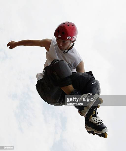 Takeshi Yasutoko of Japan in action during the Aggressive InLine Skating Demonstration during the Asian Xtour of Thailand on May 02 2003 at the...