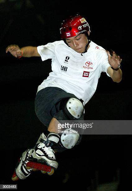 Takeshi Yasutoko of Japan in action during the Aggressive Inline Stunt Park Final at the Asian XGames finals on February 22 2004 held at the Bukit...