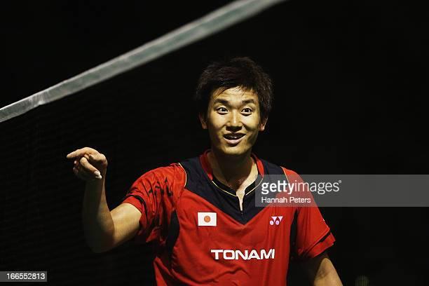 Takeshita Riichi of Japan complains to the referee during the New Zealand Badminton Open Men's Singles final match between Takeshita Riichi of Japan...