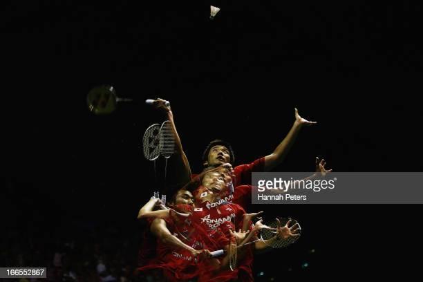 Takeshita Riichi of Japan plays a shot during the New Zealand Badminton Open Men's Singles final match between Takeshita Riichi of Japan and Xue Song...