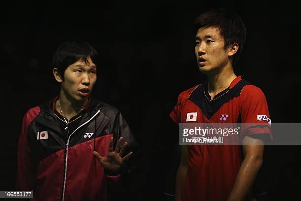 Takeshita Riichi of Japan talks to his coach during the New Zealand Badminton Open Men's Singles final match between Takeshita Riichi of Japan and...