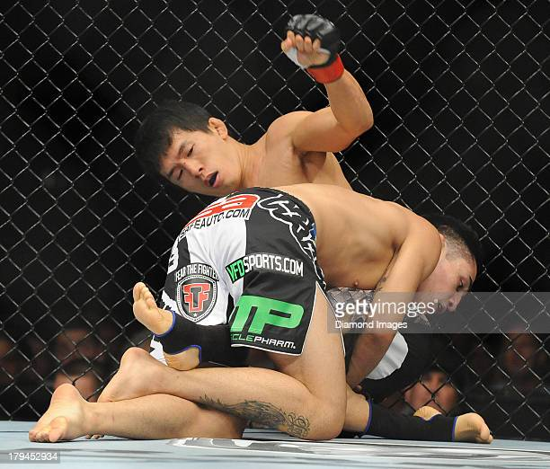 Takeya Mizugaki and Erik Perez wrestle on the cage during a bantamweight bout during UFC Fight Night 27 Condit v Kampmann 2 at Bankers Life Field...