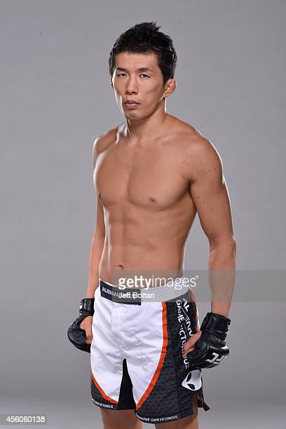 Takeya Mizugaki poses for a portrait during a UFC photo session on September 24, 2014 in Las Vegas, Nevada.