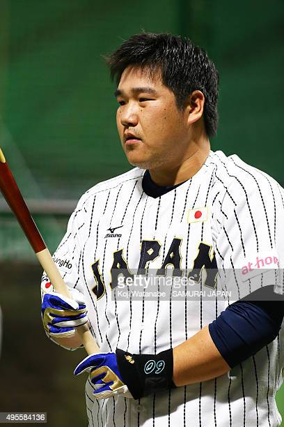 Takeya Nakamura of Samurai Japan in action during a training session at Fukuoka Dome on November 4 2015 in Fukuoka Japan