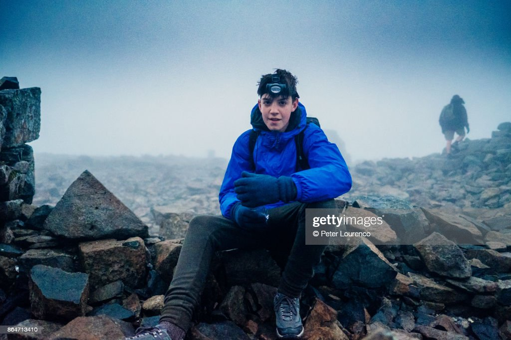 Taking a break at the summit : Stock Photo