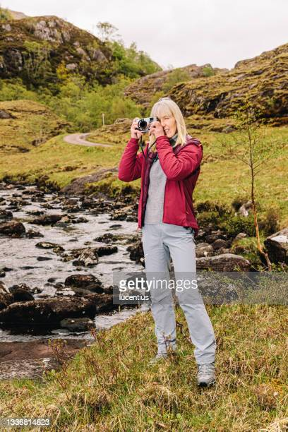 taking a break near loch hourn, scottish highlands - named wilderness area stock pictures, royalty-free photos & images