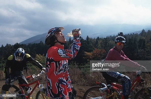 Taking a break while mountain biking down Mount Fuji. It is a breathtaking ride which last almost two hours depending on your skills.