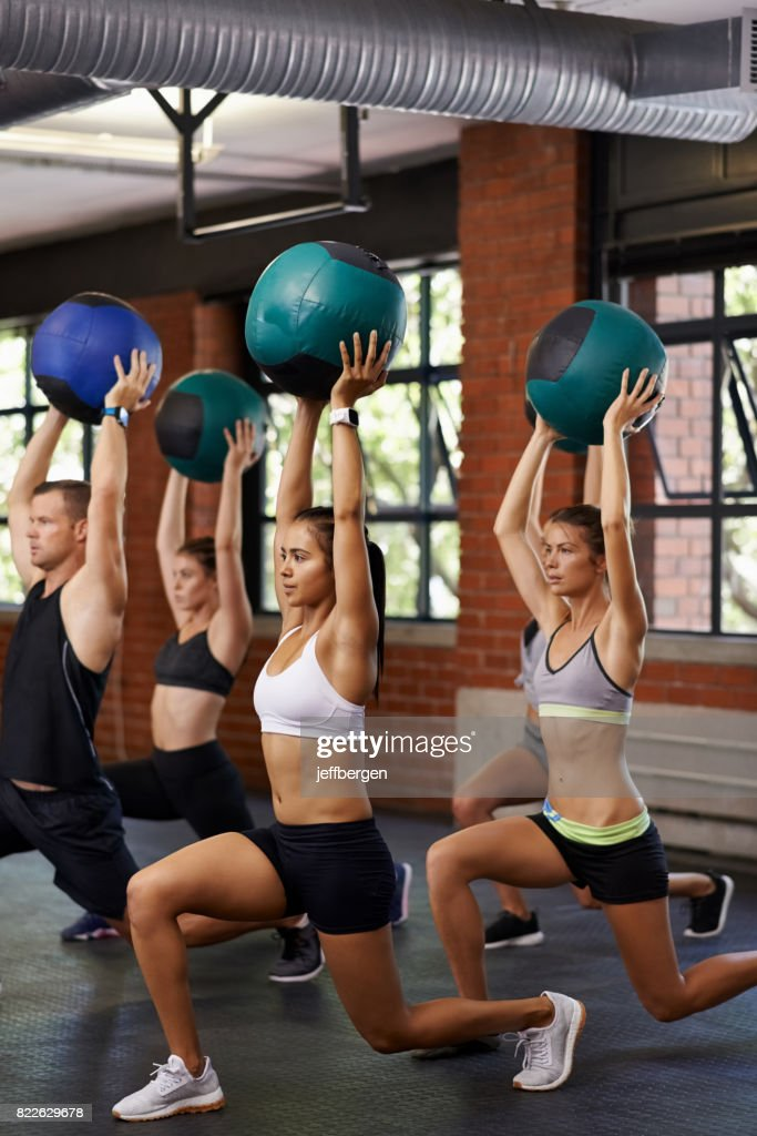 Taking a fitness class together : Stock Photo