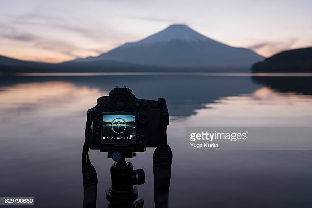 Taking a Photograph of Mount Fuji at Lake Yamanaka