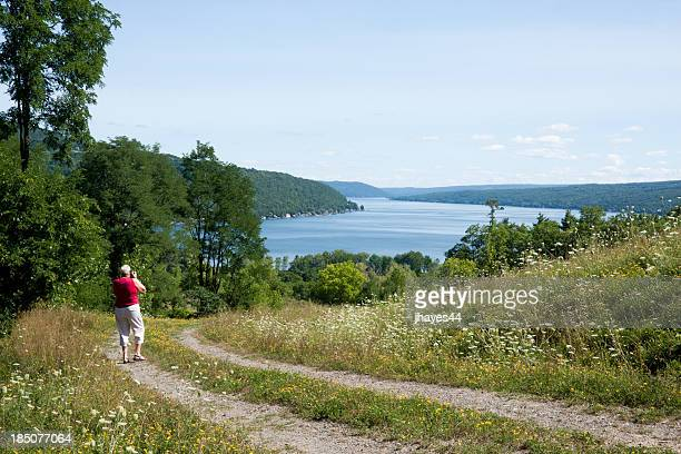 taking a picture of lake keuka - finger lakes stock pictures, royalty-free photos & images