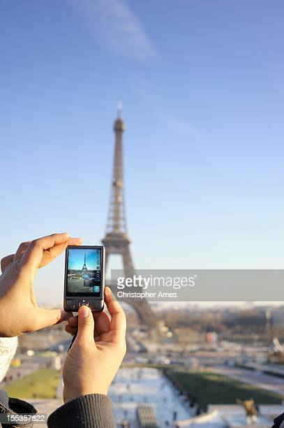 taking a picture of the eiffel tower - camera point of view stock photos and pictures